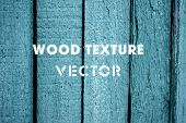 Wooden texture background. Vector illustration of blue wood plank wall.