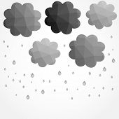 Grey clouds leaf in low poly style. Vector rain abstract illustration