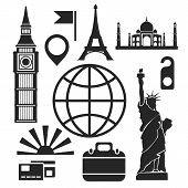 World wonders Web And Mobile Icons. Vector.