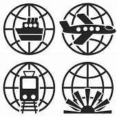 stock photo of float-plane  - Ship Plane Train and Globe Sign - JPG