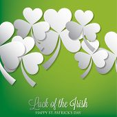 Overlapping Shamrock St Patrick's Day Card In Vector Format.