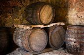 Barrel store in dark curing cellar