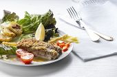 picture of cod  - cod fillet breaded and baked with potatoes and salad as garnishing - JPG