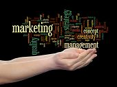 Concept or conceptual abstract business marketing word cloud or wordcloud in man or woman hand isolated on background