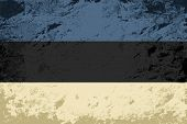 Estonian flag. Grunge background. Vector illustration