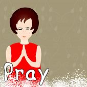 stock photo of praying  - Beautiful girl praying peacefully with word pray  - JPG