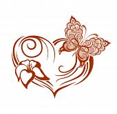 Decorative Composition Of Curls And Ornamented Abstract Silhouette Butterfly, Heart And Flower