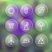 Set of linear style elements or icons for labels and badges for eco theme, on the blur nature background