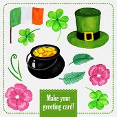 St.patrick day set for greeting card with hat, coins and clover
