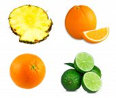 Fresh limes, sliced orange, Pineapple juicy slices isolated on white background