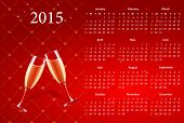 Vector American calendar 2015 with champagne, starting from Sundays