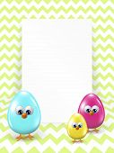 Easter Eggs And White Blank Over Zigzag Background