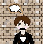 stock photo of mafia  - Vector illustration of cartoon mafia man with speech bubble - JPG