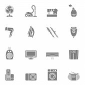 Set of home appliances and electronics icons