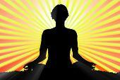 Meditating Woman Silhouette