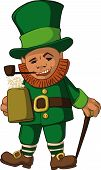 image of leprechaun hat  - leprechaun with  mug of foamy beer in hat with walking stick and tube - JPG