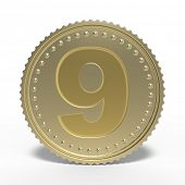 Golden number 9 isolated on white background