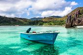 Old Fishing Boat On Tropical Beach At Curieuse Island Seychelles
