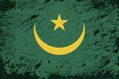 Mauritanian flag. Grunge background. Vector illustration