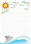 beach theme letter note paper