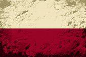 Polish flag. Grunge background. Vector illustration