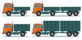 Orange empty truck, vector illustration