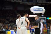 VALENCIA, SPAIN - FEBRUARY 15: Ayon 14 talks with referee during Spanish League match between Valencia Basket Club and Real Madrid at Fonteta Stadium on February 15, 2015 in Valencia, Spain