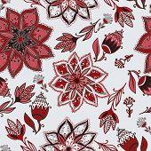 Vector Romantic Doodle Floral Pattern