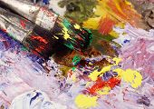 Art Still Life - Two Paintbrushes And Dirty Palette With Colourful  Paints, creative background
