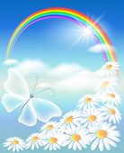 stock photo of butterfly flowers  - Rainbow flowers and butterfly in the sky - JPG