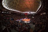 VALENCIA, SPAIN - FEBRUARY 15: Fonteta Stadium during Spanish League match between Valencia Basket Club and Real Madrid at Fonteta Stadium on February 15, 2015 in Valencia, Spain