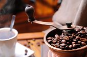 Coffee Grinder With Beans Close Up