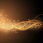 Bright Solar Orange Swoosh Speed Wave Modern Glittering Background