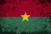 Burkina Faso flag. Grunge background. Vector illustration