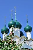 image of cupola  - Nice dome or cupola of christian church with apple brunch in front of it and blue sky - JPG