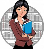 pic of librarian  - Vector illustration of a Librarian holding a book - JPG