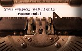 picture of recommendation  - Vintage inscription made by old typewriter your company was highly recommended - JPG