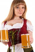 seductive woman Oktoberfest with beer in hand