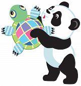 panda holding turtle toy