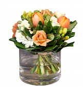 Bunch Of Flowers In Glass Vase