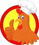 Rooster chef cartoon giving thumb up
