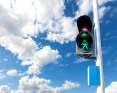 Green Color On The Traffic Light For Pedestrian, Concept Photo.