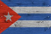 Cuba National Flag Painted Old Oak Wood Fastened