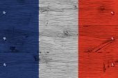 France National Flag Painted Old Oak Wood Fastened