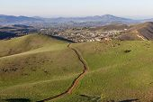 Suburban hiking trails near Los Angeles in Thousand Oaks, California.