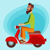 image of physicist  - Bearded fashionable tourist riding a scooter on the road - JPG