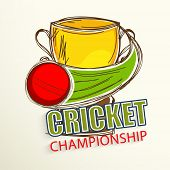 stock photo of cricket ball  - Cricket Championship concept with Golden Winning Cup and Cricket ball in motion - JPG