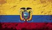 Ecuadorian flag. Grunge background. Vector illustration