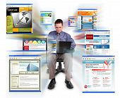 Business man Sitting with Internet Web Sites