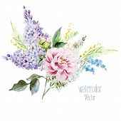 image of mimosa  - Beautiful watercolor lilac bouquet with piones and mimosa - JPG
